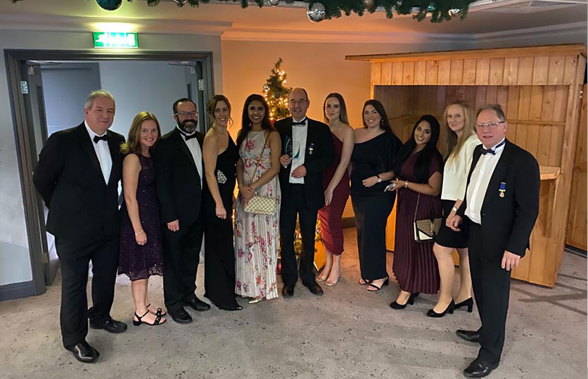 The Band Hatton Button Team celebrating the award
